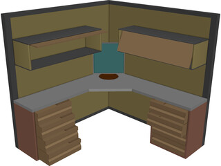 Complete Office Module  3D Model