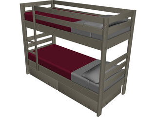 Wooden Bunk Beds 3D Model