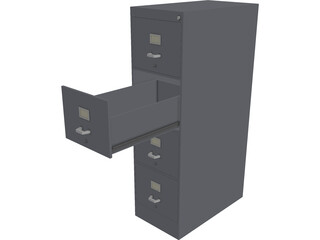 Metal File Cabinet 3D Model 3D Preview