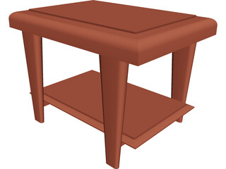 Wooden End Table 3D Model