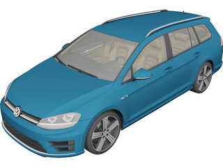 Volkswagen Golf R Variant (2015) 3D Model