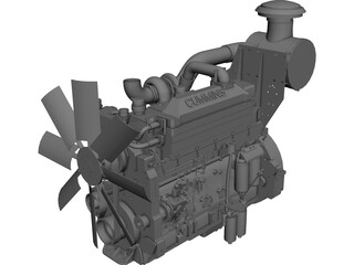 Cummins K19 Diesel Engine CAD 3D Model
