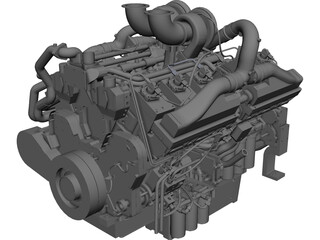 Cummins QSK38-G Diesel Engine CAD 3D Model