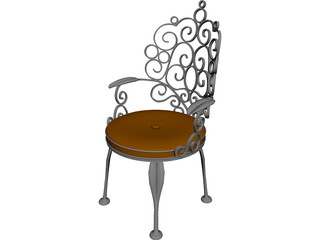 Ornate Patio Chair 3D Model