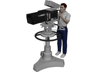 TV Camera with Operator 3D Model