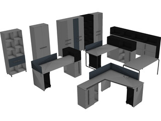 Modern Office Furniture Collection 3D Model