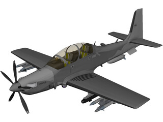 TAI Hurkus Basic Trainer Aircraft 3D Model