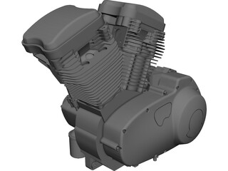 Buell XB9R Engine CAD 3D Model
