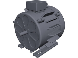 Asynchronous Electric AC Motor CAD 3D Model