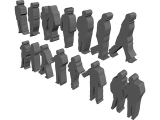 2D People for 3D Printer 3D Model