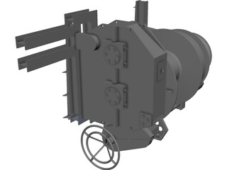 Hydraulic Winch CAD 3D Model
