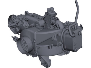 Scooter Engine 100cc CAD 3D Model