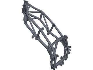 Enduro Motorcycle Frame CAD 3D Model