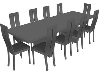 Table with Chairs 3D Model