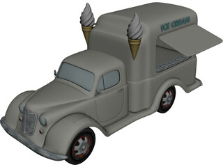 Ice Cream Truck (1950) 3D Model 3D Preview