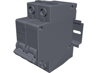 Circuit Breaker with DIN Rail CAD 3D Model