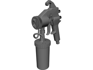HVLP Spray Gun Bottom Feed CAD 3D Model