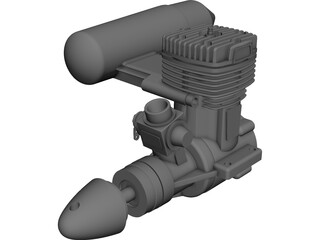 O.S. 61 FX RC Engine with Muffler 3D Model
