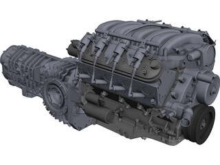 Chevrolet LS3 Engine and Transaxle Gearbox CAD 3D Model