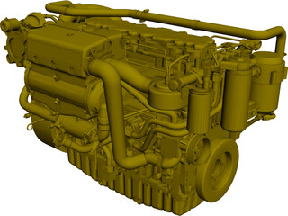 Cat C7 Engine CAD 3D Model