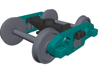 Train LHB ICF Bogie 3D Model