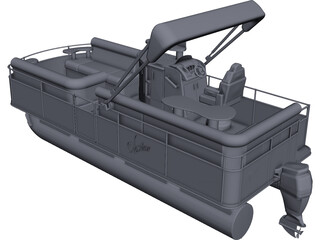 Pontoon Boat CAD 3D Model