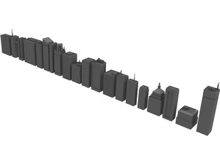 Low-Poly Buildings Collection 3D Model