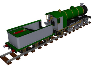 LBSC Ayesha II Steam Train CAD 3D Model