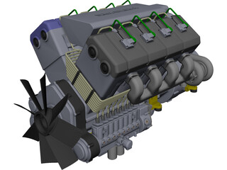Engine V8 Turbo Diesel CAD 3D Model