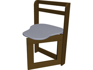 Wooden Folding Chair CAD 3D Model