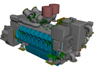 Marine Engine MTU 4500 CAD 3D Model