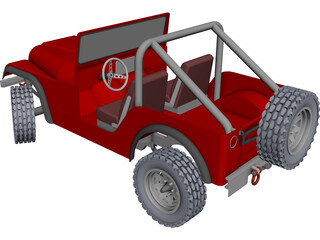Jeep CJ7 Wrangler CAD 3D Model