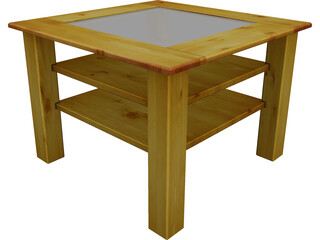 Wood Table with Glass 3D Model