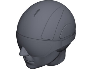 Ski Helmet with Goggles CAD 3D Model