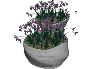 Flower Bed with Flowers 3D Model