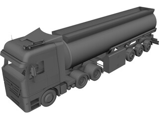 Mercedes-Benz Tanker Semi Trailer CAD 3D Model