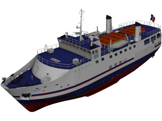 Acadie Nantes Cruise Ship 3D Model