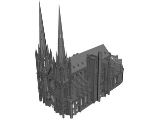 Gothic Clermont Cathedral 3D Model