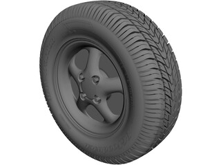 Wheel with Tire CAD 3D Model