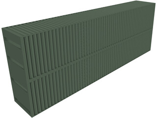 Double Shipping Container CAD 3D Model