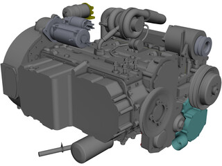 Perkins 1104D-44t Engine CAD 3D Model
