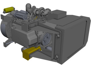 Perkins 1104A-44T Engine CAD 3D Model
