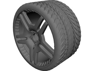 Wheel with Tyre 3D Model