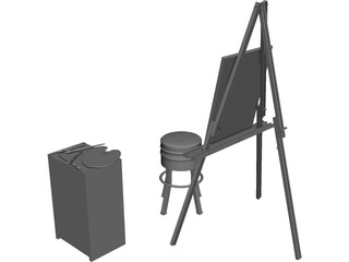 Artist Easel, Stool, Palette, and Brushes 3D Model