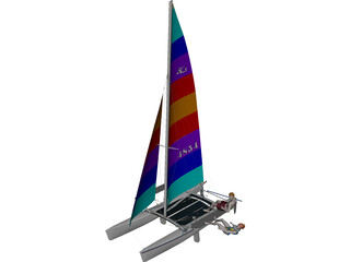 Hobie 18 Magnum Catamaran with Sailors 3D Model