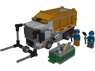 LEGO City Garbage Truck CAD 3D Model