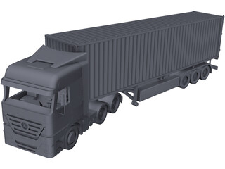 Mercedes-Benz Actros with Trailer CAD 3D Model