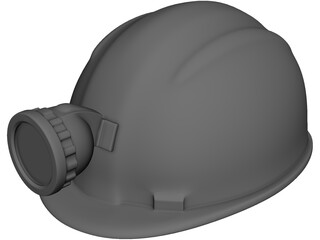 Miners Helmet with Head Lamp 3D Model