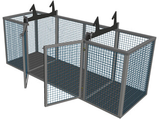 Steel Cage with Doors CAD 3D Model