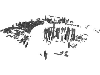Shanghai Pudong City China 3D Model